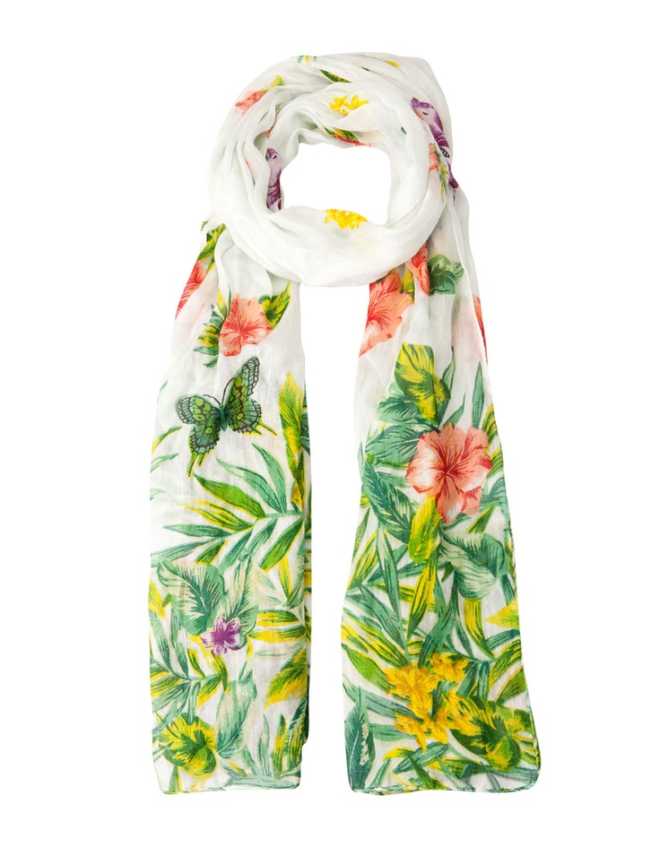 Neck scarf with tropical flower and butterfly print