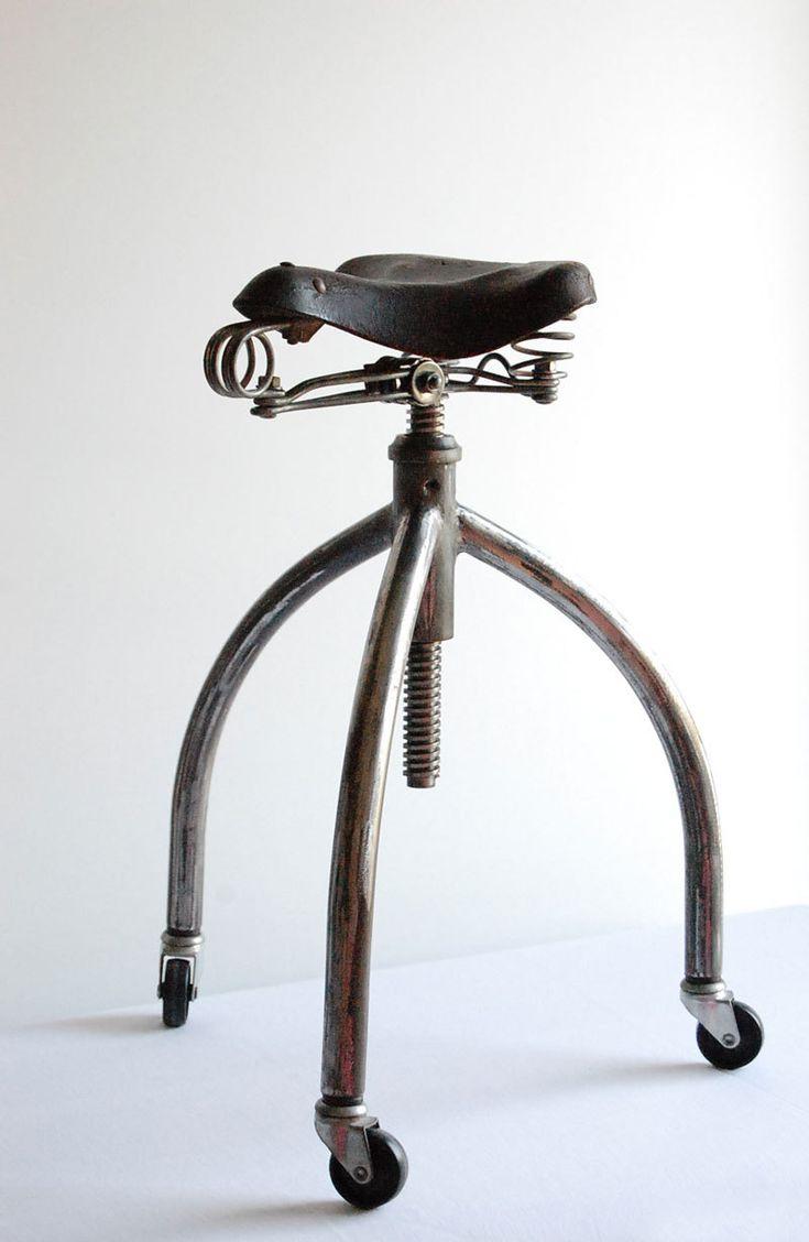 Bicycle stool. Handcrafted, vintage industrial stool.