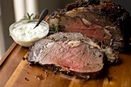 Herb-Crusted Prime Rib with Dijon Horseradish Sauce and Au Jus - Used ...
