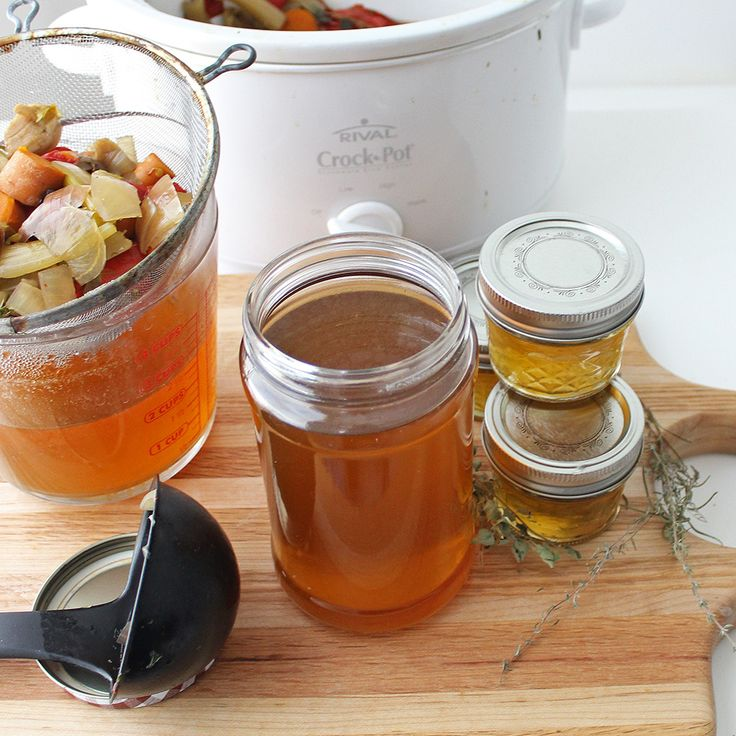 Crock pot vegetable broth from living well kitchen