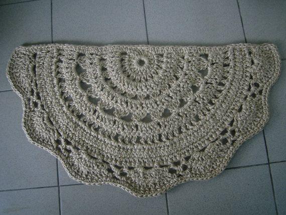 doormat half circle crochet jute door rug kitchen rug doily rug. Black Bedroom Furniture Sets. Home Design Ideas