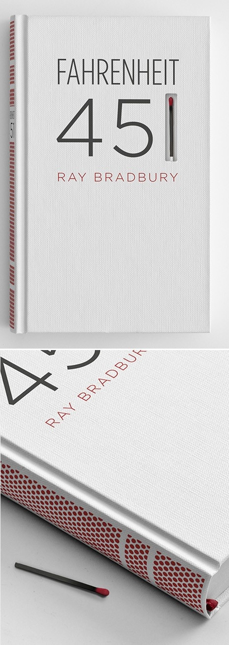 Fahrenheit 451 book design with a match in the cover and a striking surface on the spine.