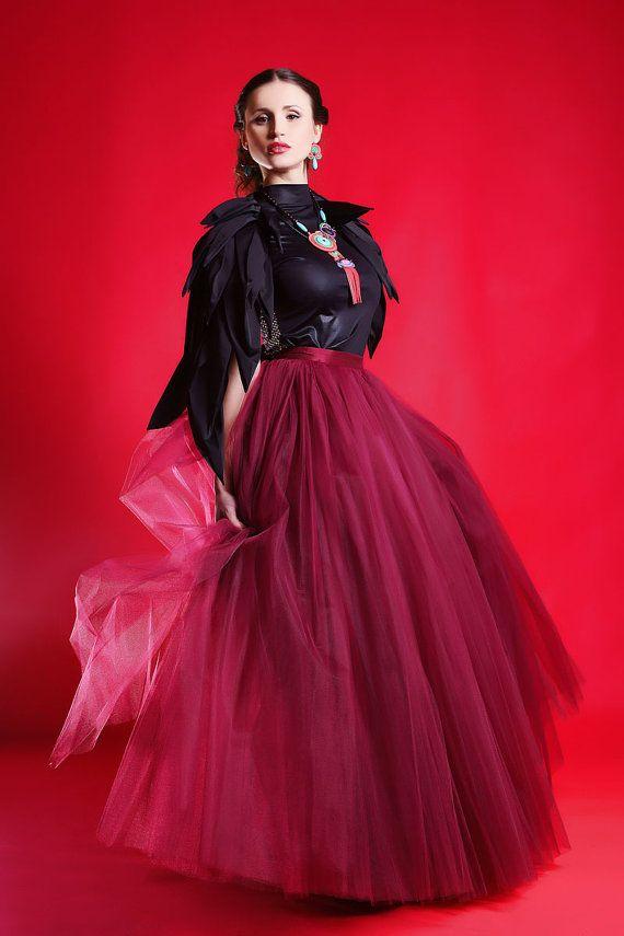 maxi tutu tulle skirt maxi petticoat burgundy tutu skirt