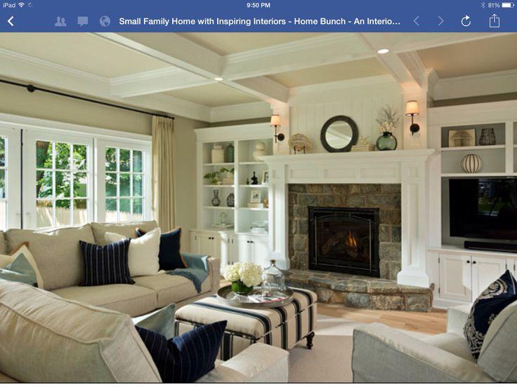 Built Ins Stone Fireplace Living Room Ideas Pinterest