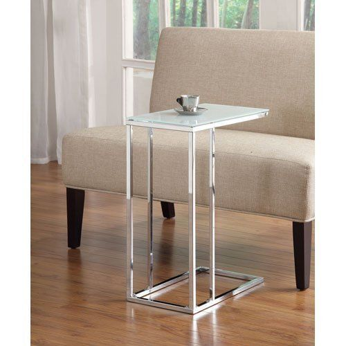 Contemporary Sofa Console Snack Table Glass Top And Chrome