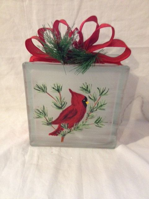 Hand painted lighted glass block cardinal christmas for Christmas glass painting