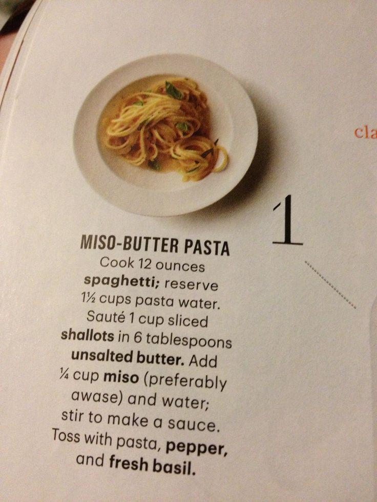 Miso butter pasta | Recipes | Pinterest