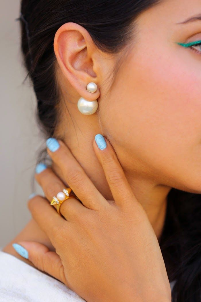 Double Pearl Earrings on The Sentimentalist