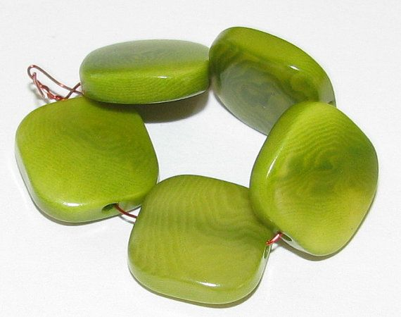 10 Lime Green Tagua Nut Beads Flat Square Beads 13mm by EcoBeadsTagua ...