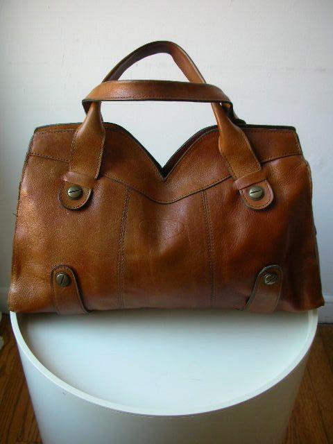 Italian Vintage Tote Bag Boho 1970s Tan Brown Leather