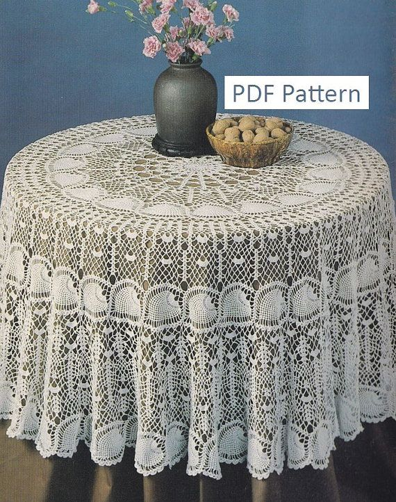Round Pineapple Tablecloth Crochet Pattern - PDF Instant ...