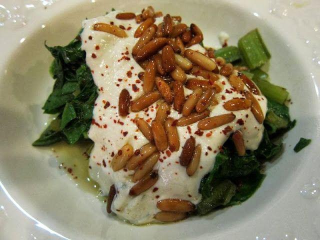 Swiss Chard with tahini, yogurt & buttered pine nuts
