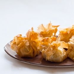 Sweet Potato Pecan and Goat Cheese Bites. Little filo bags filled with ...