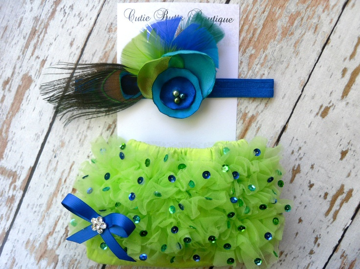 for one day!! Lime Green Sequins Ruffle Bloomers and Deluxe Peacock Flower Headband Set ..