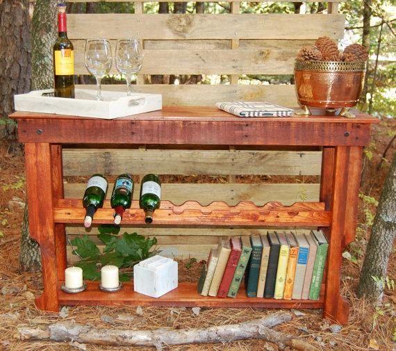 Reclaimed Wood Wine Rack Table by LooneyBinTradingCo on Etsy, $220.00