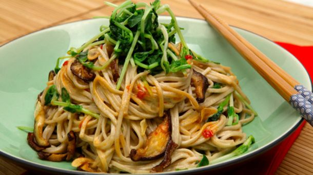 Soba Noodles with Pea Shoots and Shiitakes