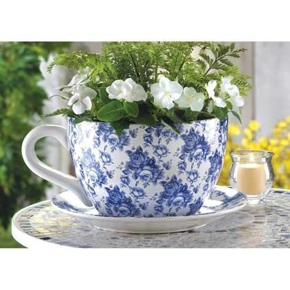 Blue Floral Tea Cup Planter