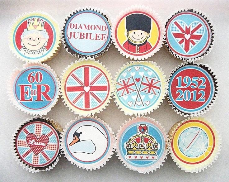 Queen's Jubilee Cupcake Toppers