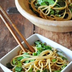 Noodles + Mustard Greens -Simple sesame noodles with sauteed mustard ...