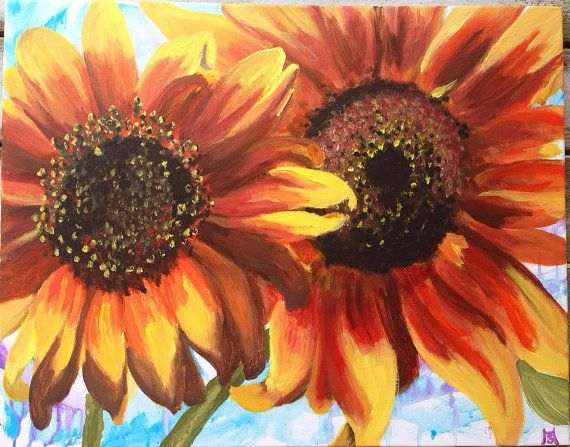 Sunflower acrylic painting for How to paint sunflowers in acrylic