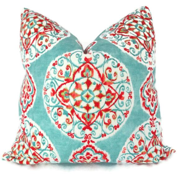 Decorative Turquoise Throw Pillows : Turquoise and Orange Suzani Decorative Pillow Cover, Toss Pillow, Thr?