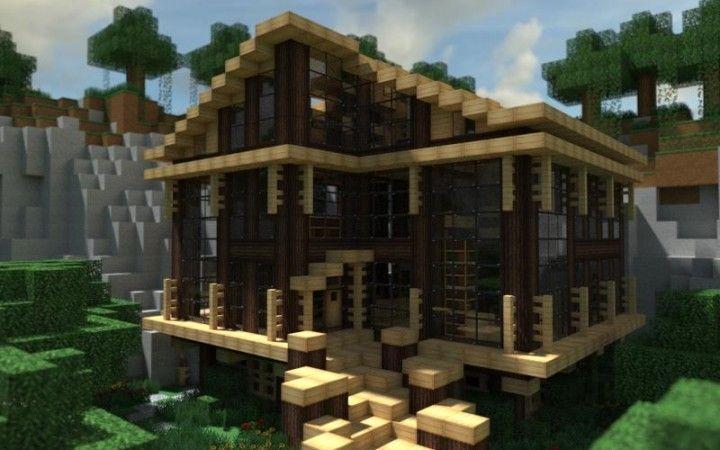 Modern Cabin In The Woods In Minecraft Minecraft Pinterest