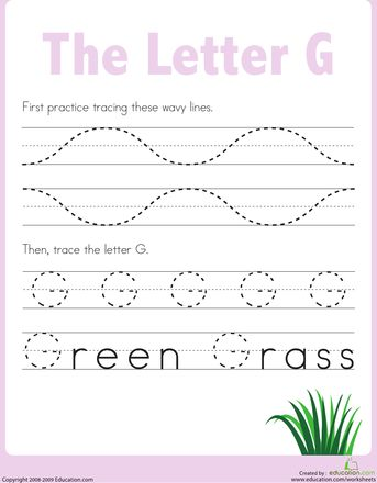 Worksheets: Practice Tracing the Letter G