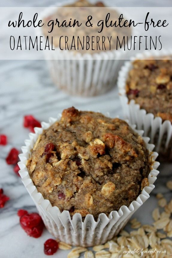 Gluten Free Whole Grain Oatmeal Cranberry Muffins | G-Free Foodie