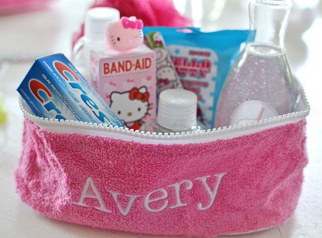 slumber party toiletry bag favors.. for KK and Jers sleep overs at the grandparents house :)