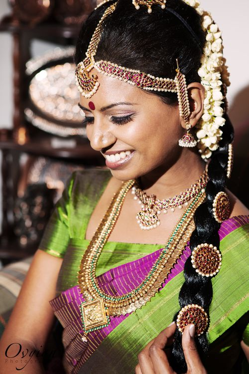 Purple and green - a south Indian bride an all her glory.