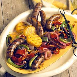 , serve this grilled sausage, peppers, and onions recipe. The sweet ...