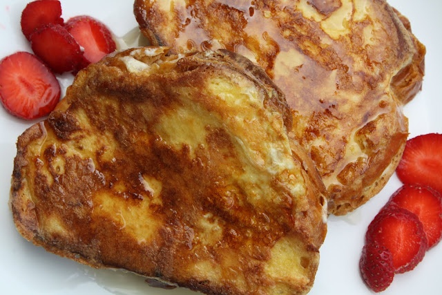 Cream Cheese Filled Challah French Toast with Fresh Strawberries