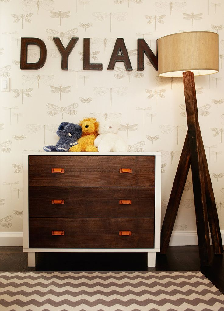 Rustic Wood.  Modern nursery Love the name on the wall