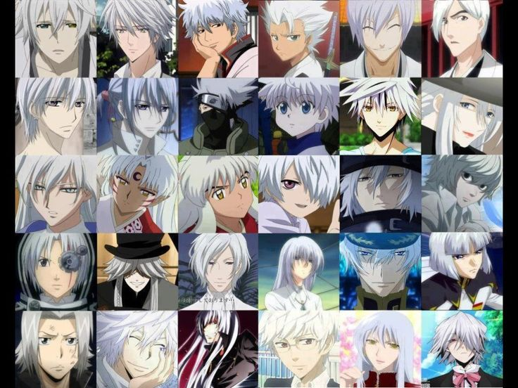 Anime boys with white hair and blue eyes