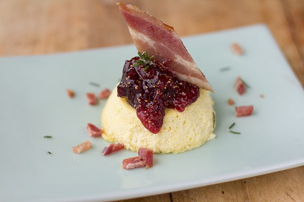 mini ricotta cheesecakes with fig amp bourbon jam amp candied bacon a ...
