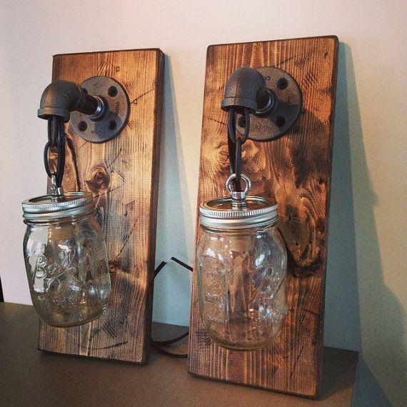 Rustic Industrial Modern Handmade Mason Jar Chandelier Rustic: Industrial/Rustic/Modern Wood Handmade Mason Jar 1 Light