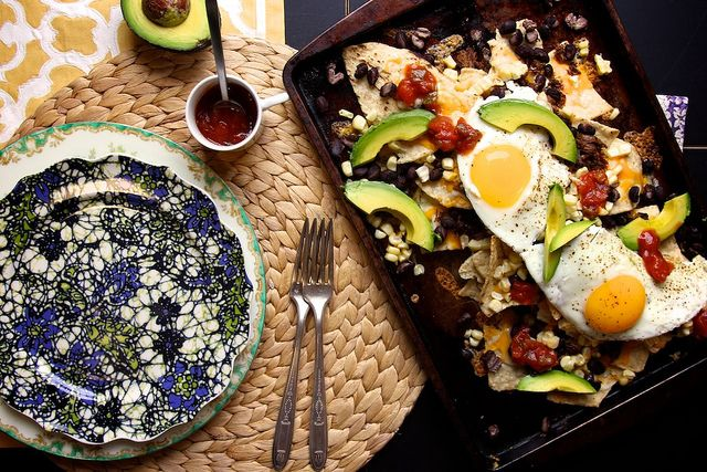 Breakfast 'Nachos'! Great for using leftovers! Tostada chips, black ...