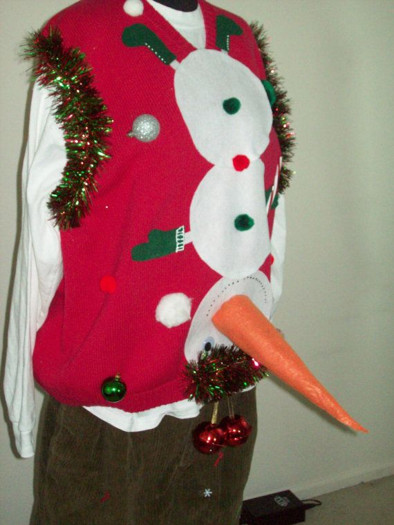 Naughty Ugly Christmas Sweater Men Snowman by FunnyHolidaySweaters