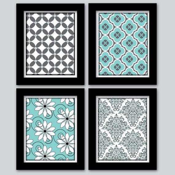 Wall Art For Grey Bedroom : Teal and grey home decor wall art digital prints girls