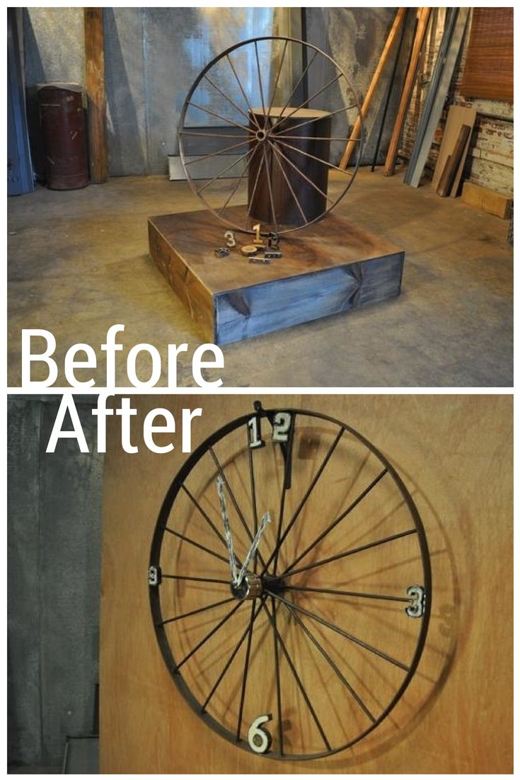 Before: Vintage Buggy Wheel and Die-Cut Numbers After: A Large-Scale Wall Clock