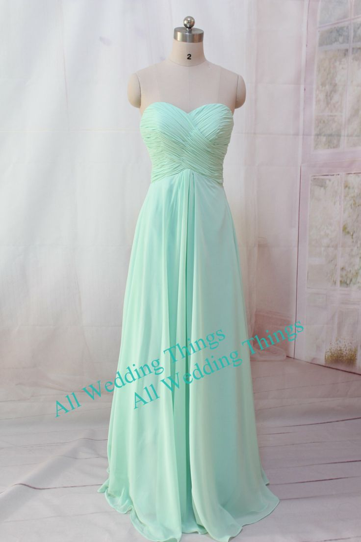Mint green bridesmaid dress long prom dress by for Mint green wedding dress