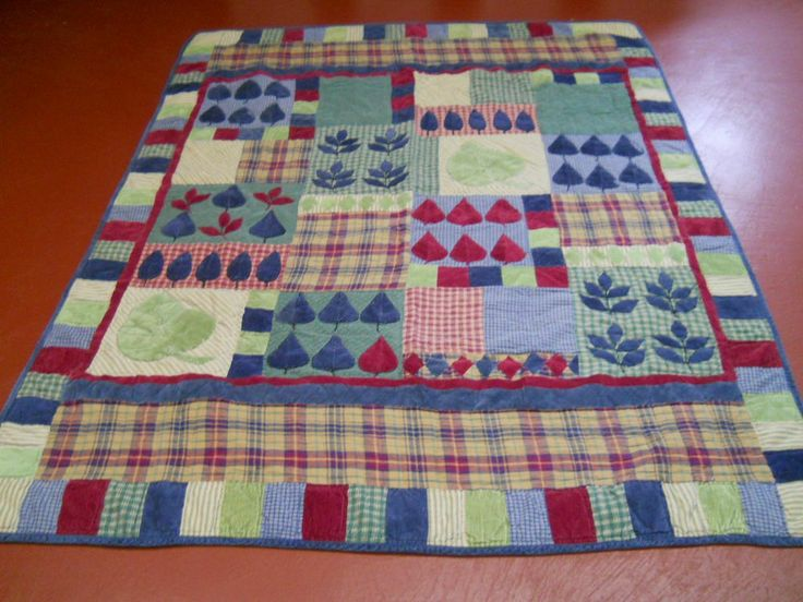 ... Cotton Applique & Pieced Leaf & Block Pattern Quilt, Hand Quilted