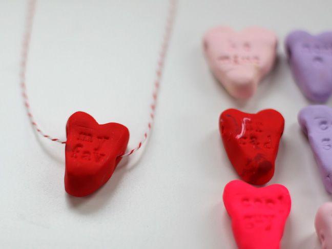 Homemade clay conversation hearts