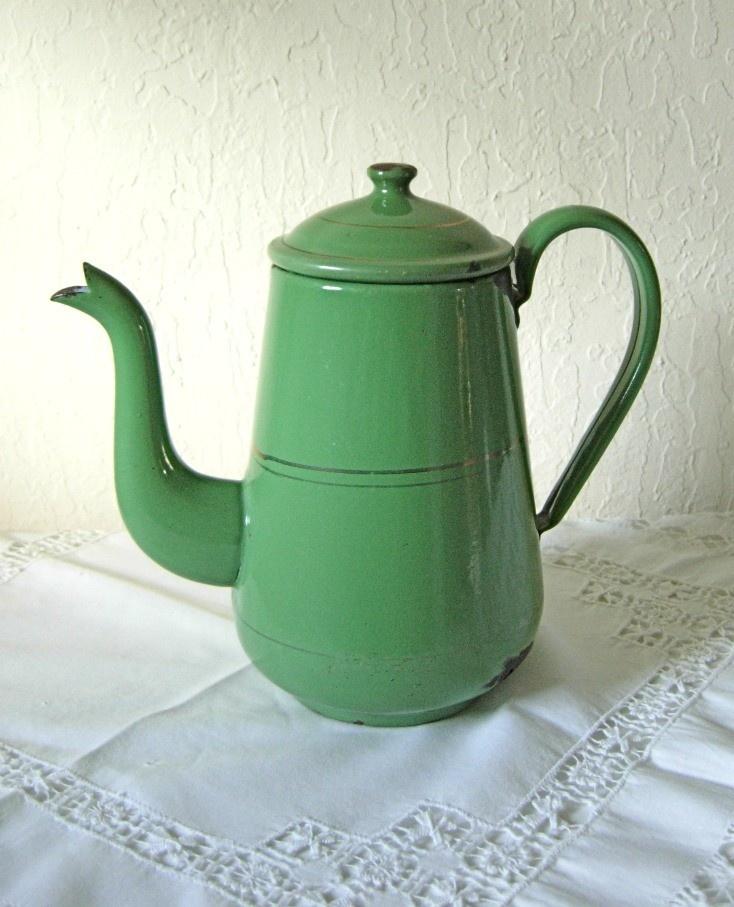 Antique Enamelware Green Coffee Pot