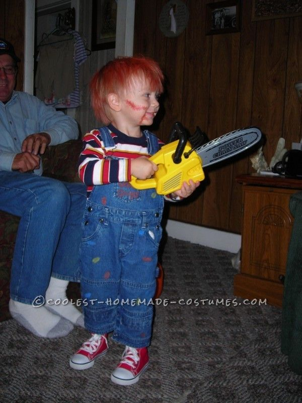Coolest chucky costume for a toddler for Homemade halloween costumes for toddlers