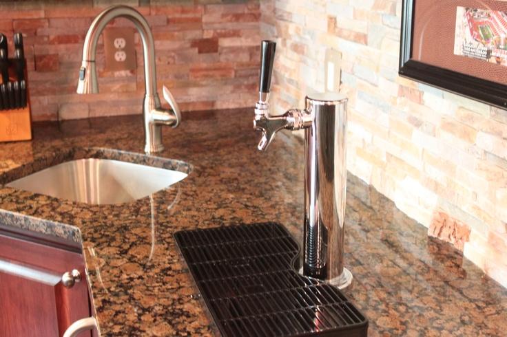 Countertop Kegerator : Custom bar with kegerator, stainless steel sink and baltic brown ...