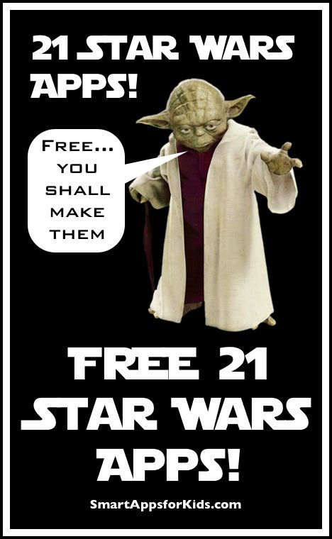Check out our list of 21 Free Star Wars apps! http://www.smartappsforkids.com/2014/05/may-the-4th-be-with-you-celebrate-with-these-free-star-wars-apps.html