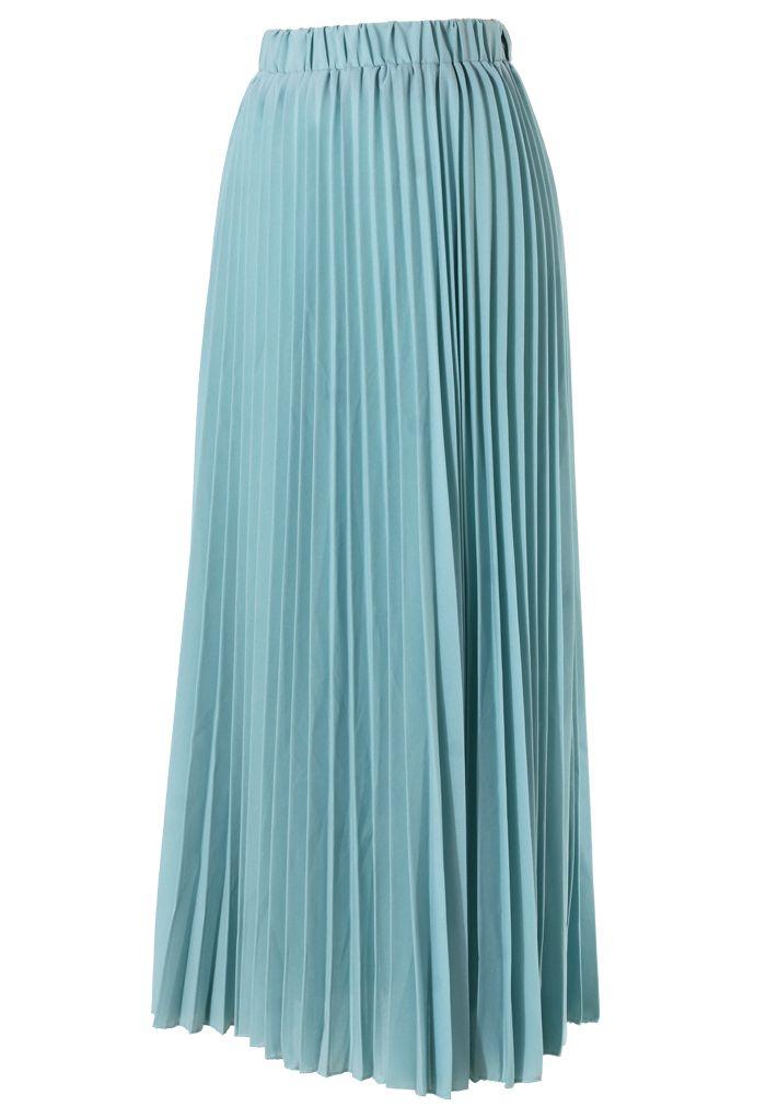 chiffon seafoam pleated maxi skirt fashion