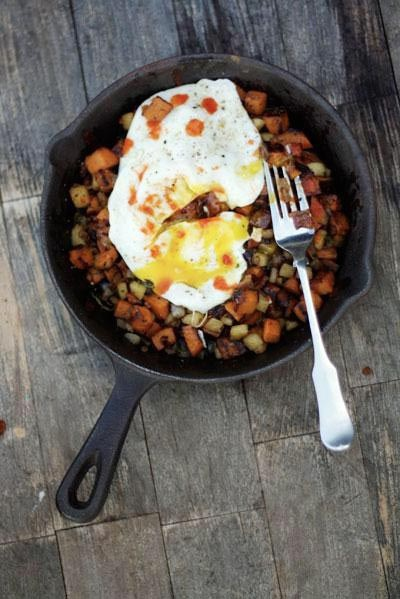 ... words - Sweet potato, apple & pancetta hash, topped with a fried egg