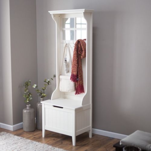 Small entryway hall tree coat rack with storage bench antique white w Storage bench with coat rack